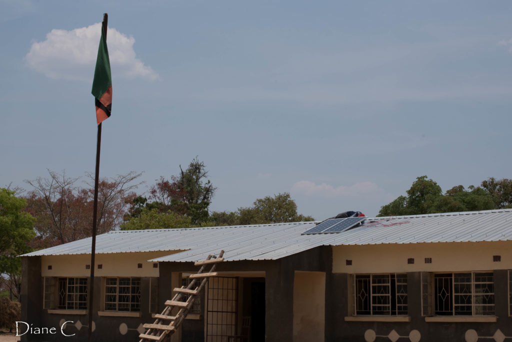 The school block getting the solar panels on top!